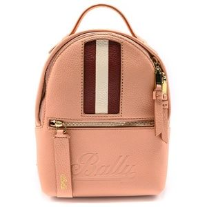 Bally Women's Pink Calf Leather Striped Backpack
